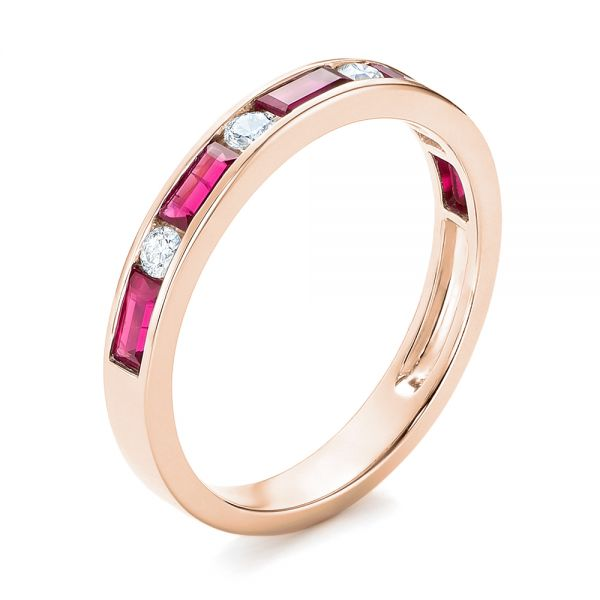 14k Rose Gold 14k Rose Gold Ruby And Diamond Wedding Band - Three-Quarter View -  103761