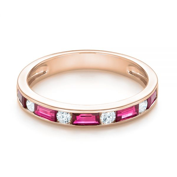 14k Rose Gold 14k Rose Gold Ruby And Diamond Wedding Band - Flat View -  103761