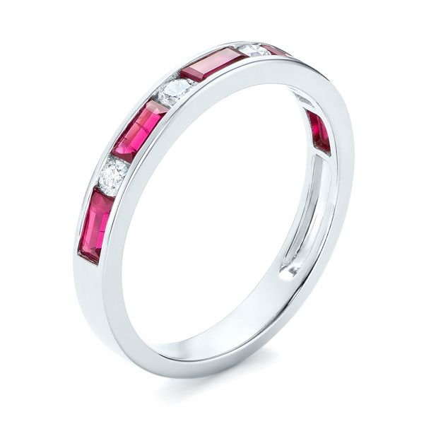 14k White Gold Ruby And Diamond Wedding Band - Three-Quarter View -  103761