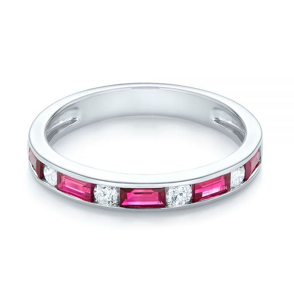 14k White Gold Ruby And Diamond Wedding Band - Flat View -  103761