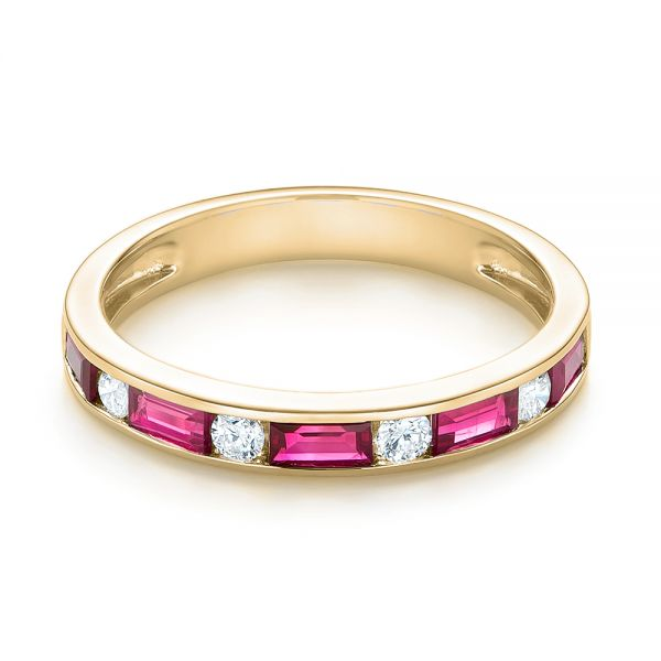 18k Yellow Gold 18k Yellow Gold Ruby And Diamond Wedding Band - Flat View -  103761