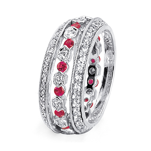 Ruby and Diamond Women's Wedding Bands - Parade