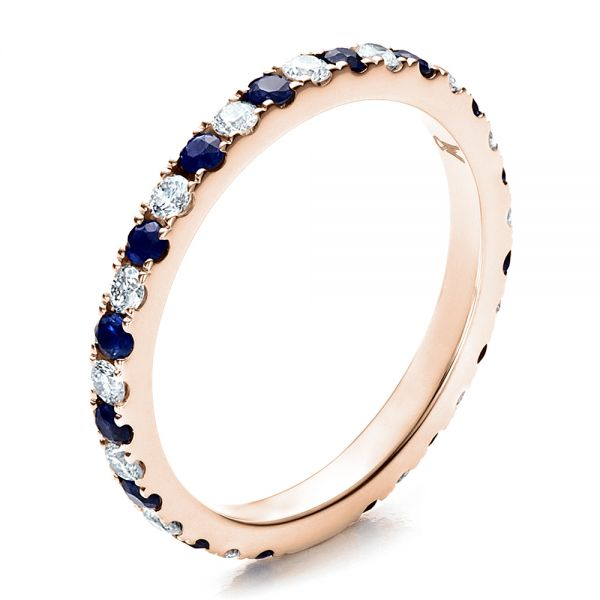 18k Rose Gold 18k Rose Gold Sapphire Band With Matching Engagement Ring - Three-Quarter View -