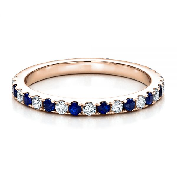 18k Rose Gold 18k Rose Gold Sapphire Band With Matching Engagement Ring - Flat View -