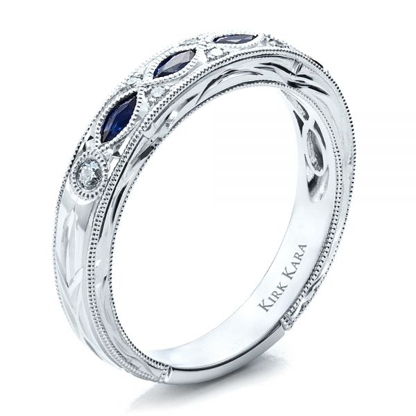 Sapphire Wedding Band With Matching Engagement Ring - Kirk Kara - Three-Quarter View -