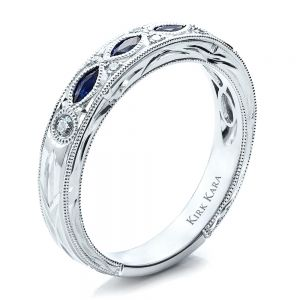 Sapphire Wedding Band with Matching Engagement Ring - Kirk Kara - Image