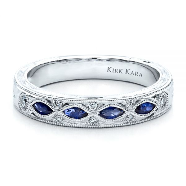 Sapphire Wedding Band With Matching Engagement Ring - Kirk Kara - Flat View -