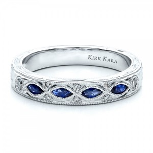 Sapphire Wedding Band with Matching Engagement Ring - Kirk Kara