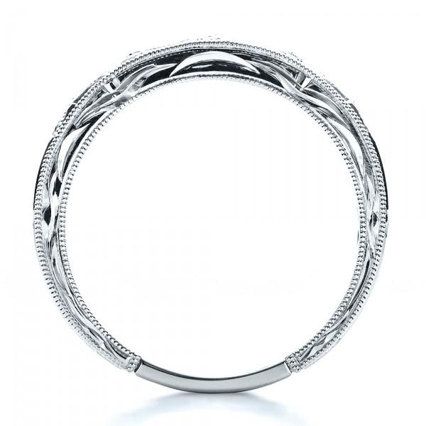 Sapphire Wedding Band with Matching Engagement Ring - Kirk Kara - Finger Through View