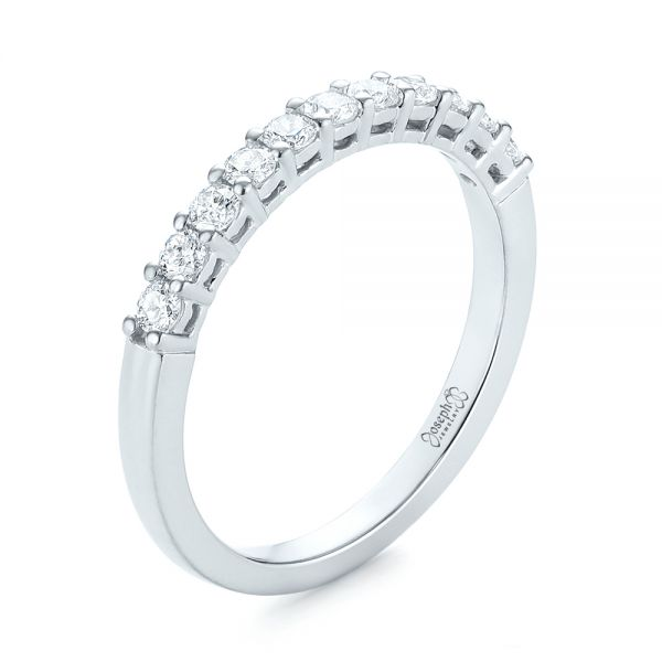18k White Gold Shared Prong Basket-set Diamond Wedding Band - Three-Quarter View -  104164