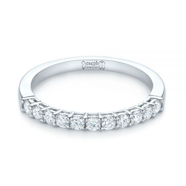 18k White Gold Shared Prong Basket-set Diamond Wedding Band - Flat View -  104164