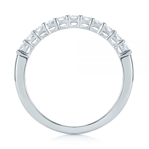 18k White Gold Shared Prong Basket-set Diamond Wedding Band - Front View -  104164