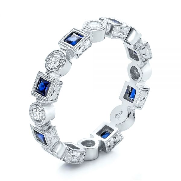 18k White Gold Stackable Diamond And Blue Sapphire Eternity Band - Three-Quarter View -