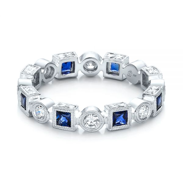 18k White Gold Stackable Diamond And Blue Sapphire Eternity Band - Flat View -