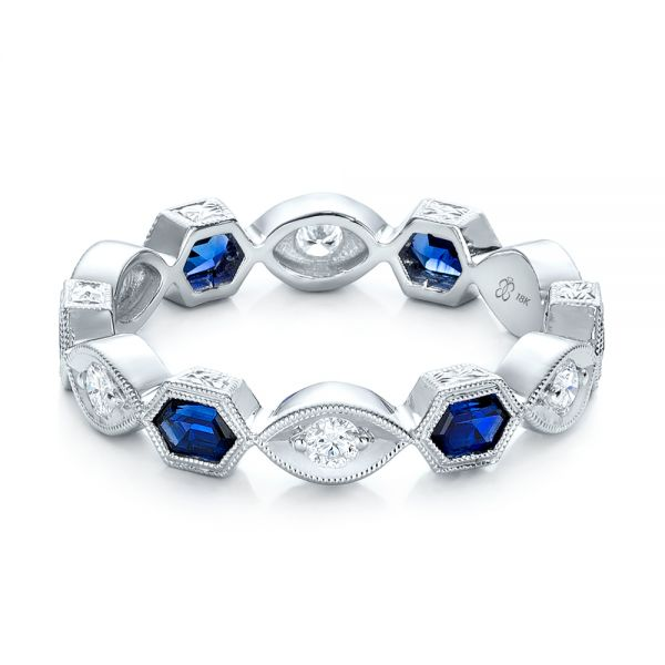 Stackable Diamond and Blue Sapphire Eternity Band - Flat View -  101876 - Thumbnail