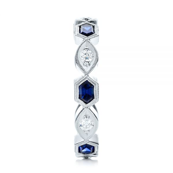 Stackable Diamond and Blue Sapphire Eternity Band - Side View -  101876 - Thumbnail