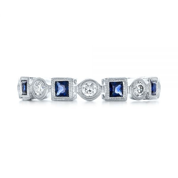 18k White Gold Stackable Diamond And Blue Sapphire Eternity Band - Top View -