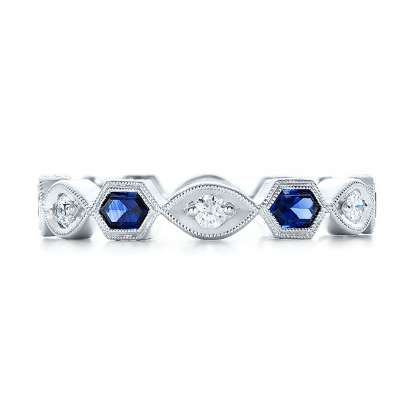 Stackable Diamond and Blue Sapphire Eternity Band - Top View -  101876 - Thumbnail