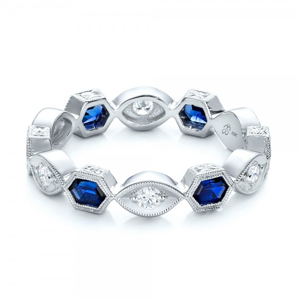 Stackable Diamond and Blue Sapphire Eternity Band