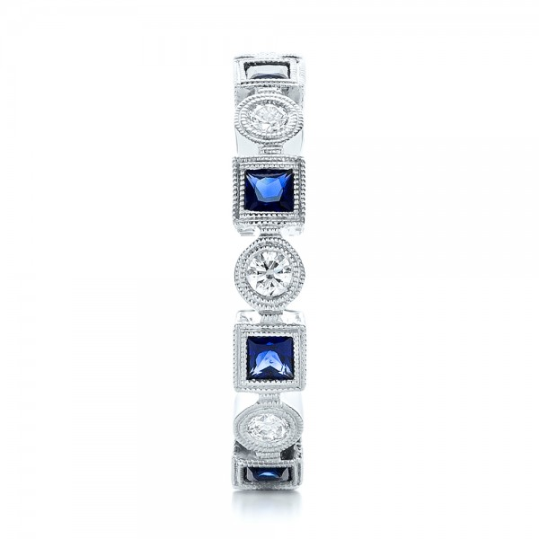 Stackable Diamond and Blue Sapphire Eternity Band - Side View