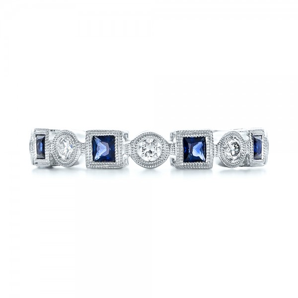 Stackable Diamond and Blue Sapphire Eternity Band - Top View