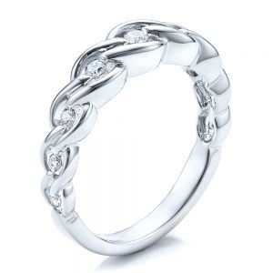 Tension Set Diamond Band with Matching Engagement Ring - Vanna K - Image