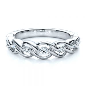 Tension Set Diamond Band with Matching Engagement Ring - Vanna K