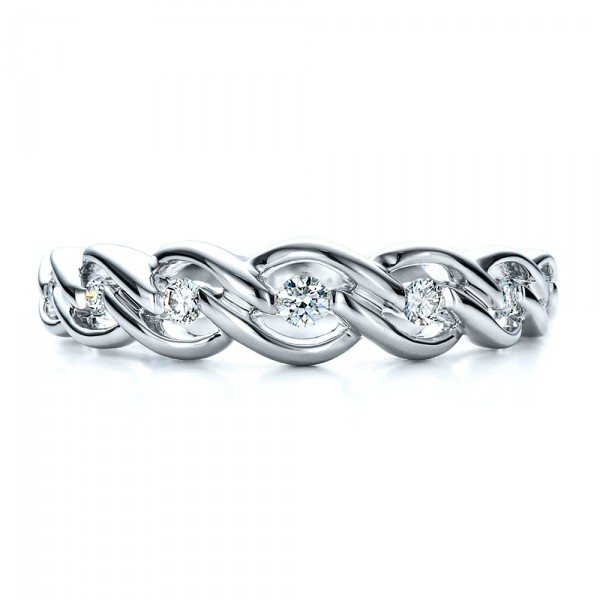 Tension Set Diamond Band with Matching Engagement Ring - Vanna K - Top View