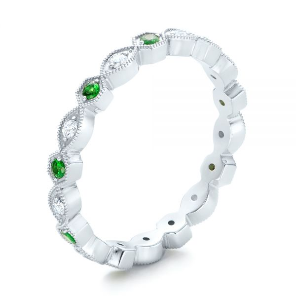 Tsavorite and Diamond Stackable Eternity Band - Image