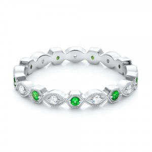 Tsavorite and Diamond Stackable Eternity Band