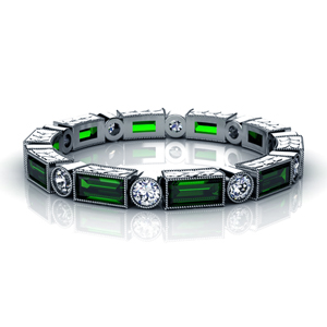 Tsavorite and Diamond Women's Anniversary Band