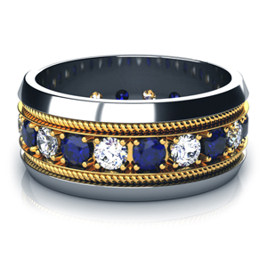 Two-Tone Blue Sapphire and Diamond Women's Anniversary Band