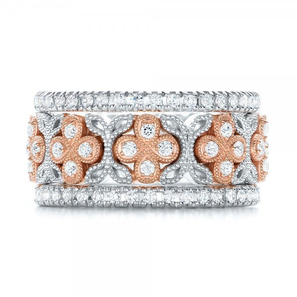 Two-Tone Cross Diamond Stackable Eternity Band - Top View