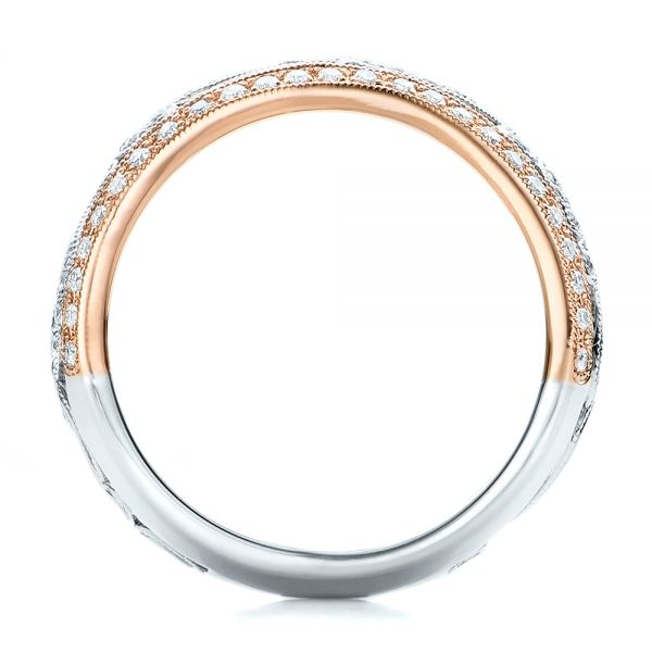 Two-tone Filigree And Diamond Women's Band - Kirk Kara - Front View -