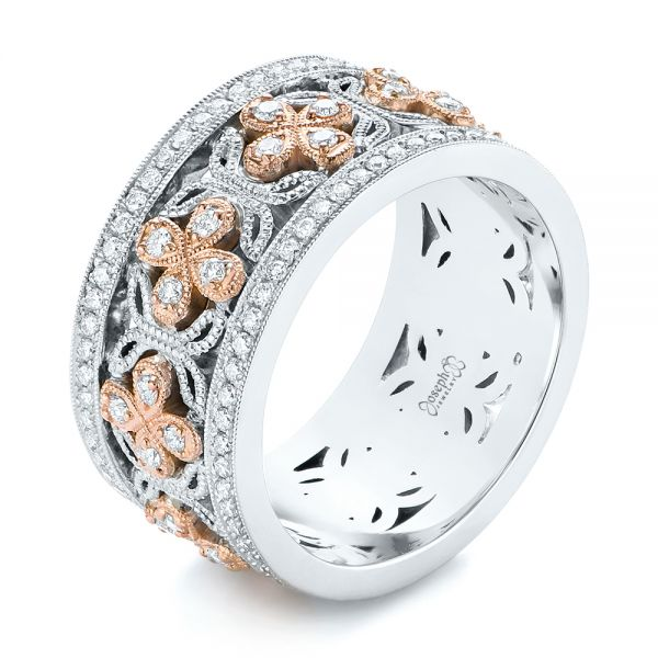 Two-Tone Organic Diamond Anniversary Band - Image