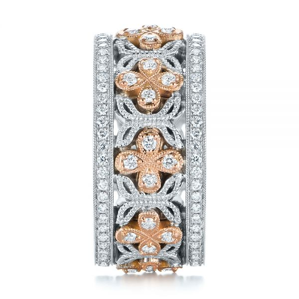 18k Rose Gold Two-tone Organic Diamond Anniversary Band - Side View -  105175 - Thumbnail
