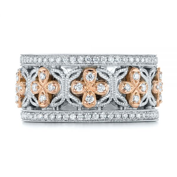 18k Rose Gold Two-tone Organic Diamond Anniversary Band - Top View -  105175 - Thumbnail