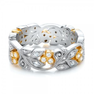 Two-Tone Organic Diamond Stackable Eternity Band