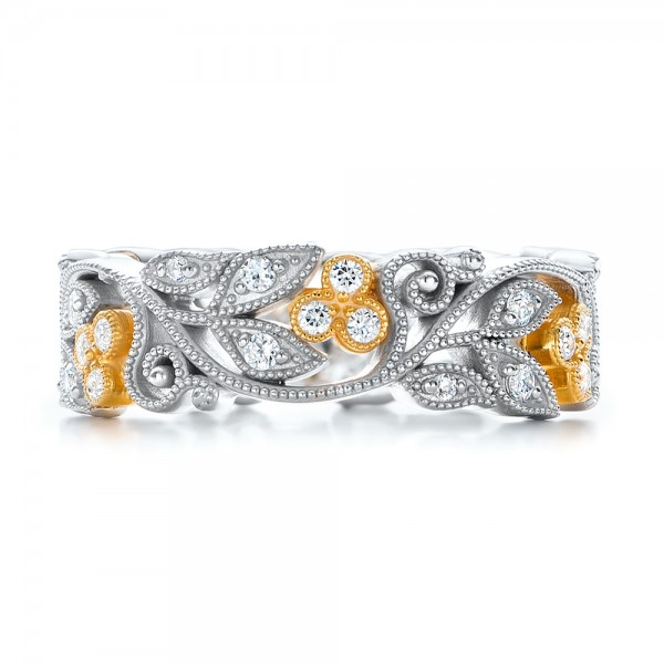Two-Tone Organic Diamond Stackable Eternity Band - Top View -  101920 - Thumbnail