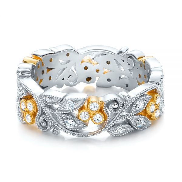 18k White Gold And 18K Gold Two-tone Organic Diamond Stackable Eternity Band - Flat View -