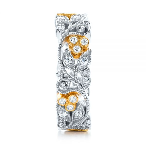 18k White Gold And 18K Gold Two-tone Organic Diamond Stackable Eternity Band - Side View -