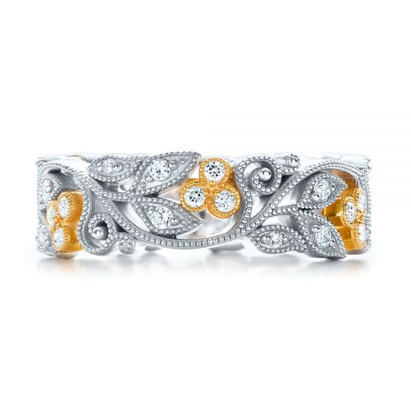 18k White Gold And 18K Gold Two-tone Organic Diamond Stackable Eternity Band - Top View -
