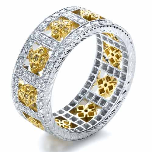 Two-Tone Yellow and White Diamond Eternity Band