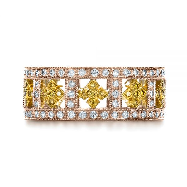 14k Rose Gold And 18K Gold 14k Rose Gold And 18K Gold Two-tone Yellow And White Diamond Eternity Band - Top View -