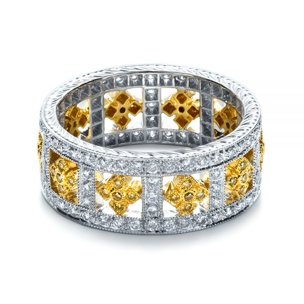 14k White Gold And 18K Gold 14k White Gold And 18K Gold Two-tone Yellow And White Diamond Eternity Band - Flat View -