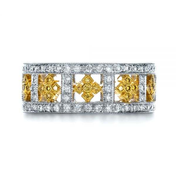 14k White Gold And 18K Gold 14k White Gold And 18K Gold Two-tone Yellow And White Diamond Eternity Band - Top View -