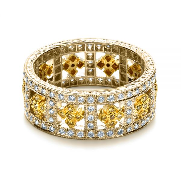 14k Yellow Gold And 18K Gold 14k Yellow Gold And 18K Gold Two-tone Yellow And White Diamond Eternity Band - Flat View -