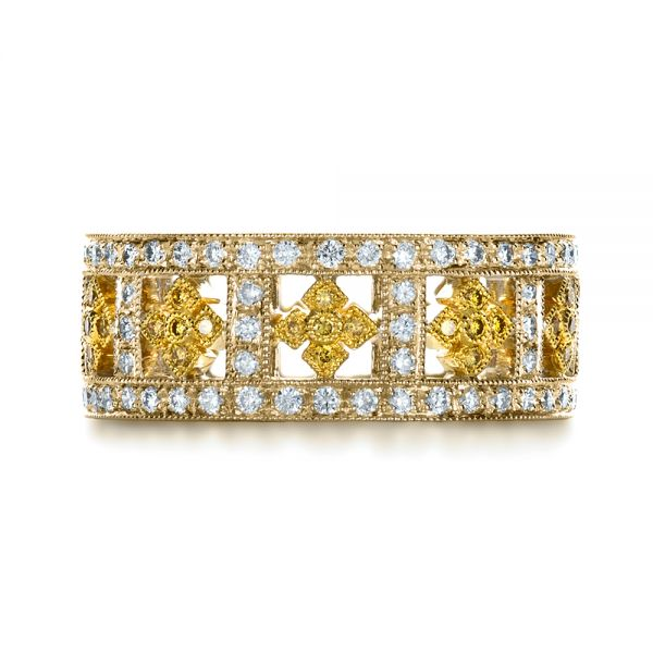 14k Yellow Gold And 18K Gold 14k Yellow Gold And 18K Gold Two-tone Yellow And White Diamond Eternity Band - Top View -