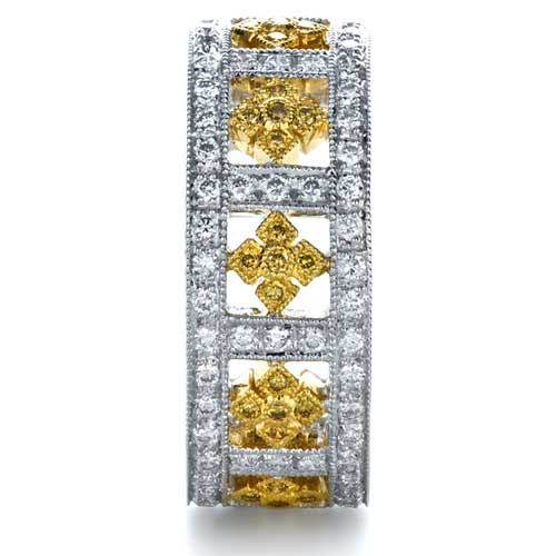 Two-Tone Yellow and White Diamond Eternity Band - Side View