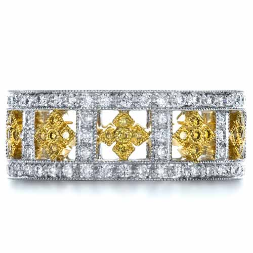 Two-Tone Yellow and White Diamond Eternity Band - Top View